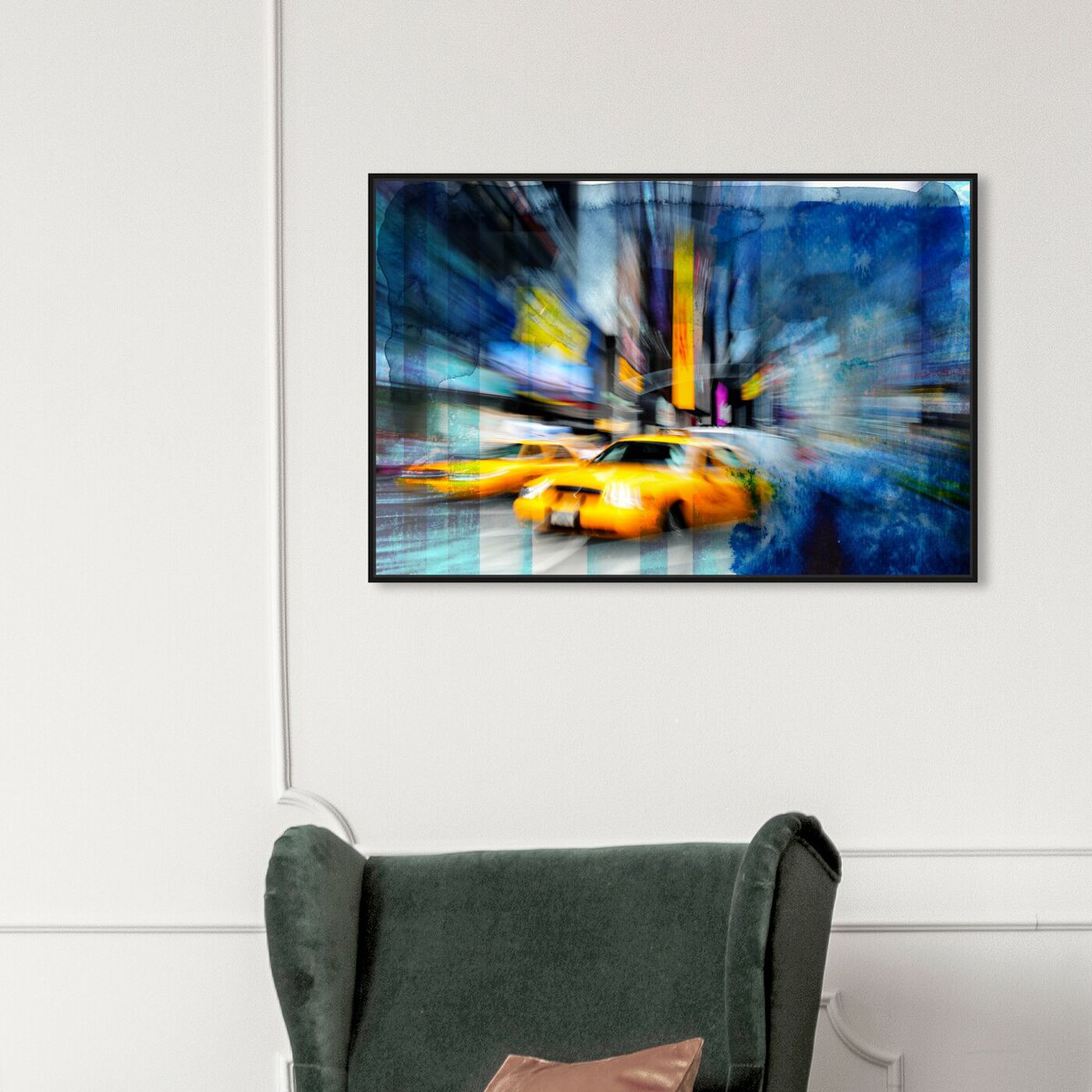 Hanging view of Cab Blues featuring cities and skylines and united states cities art.