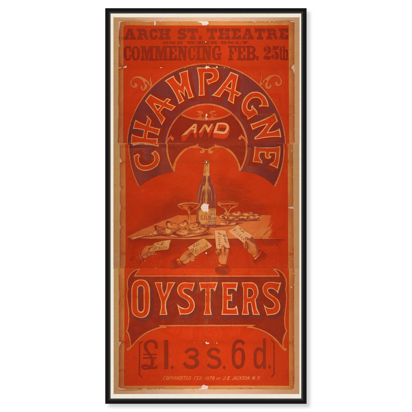 Front view of Champagne and Oysters featuring advertising and posters art.