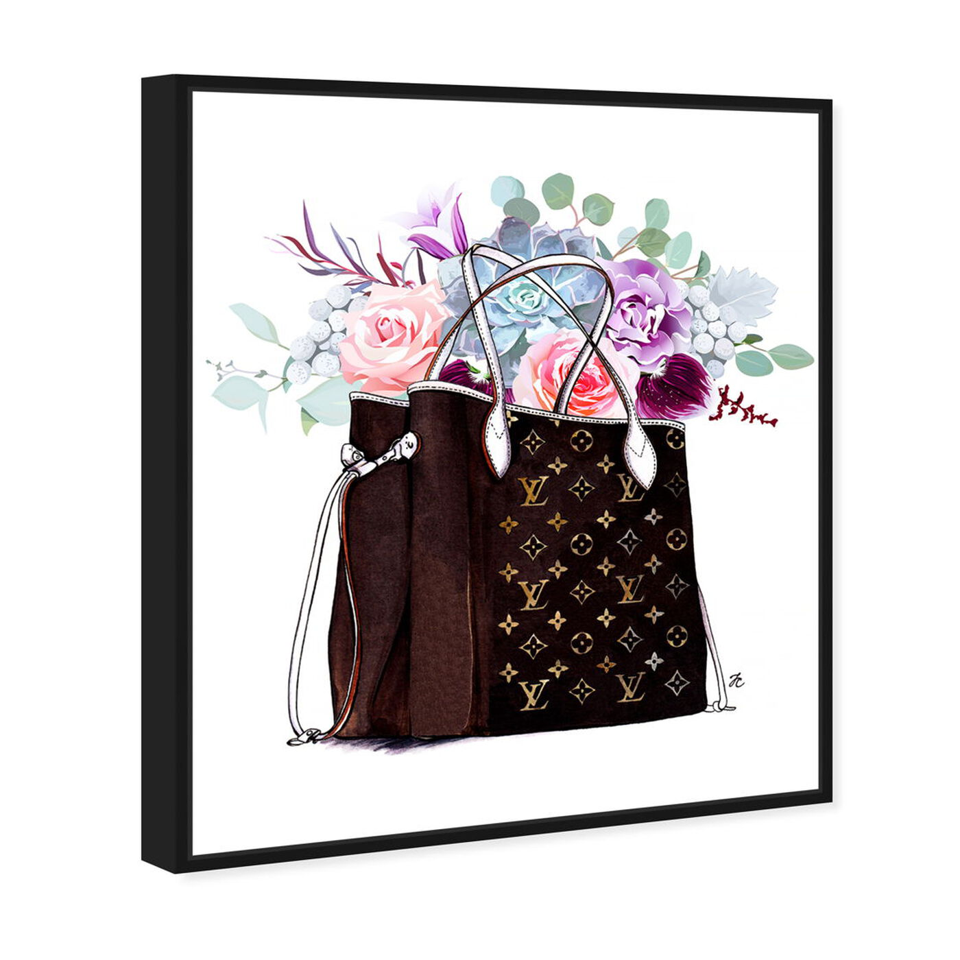 Angled view of Doll Memories - Fashion Flowered Hand Bag featuring fashion and glam and handbags art.