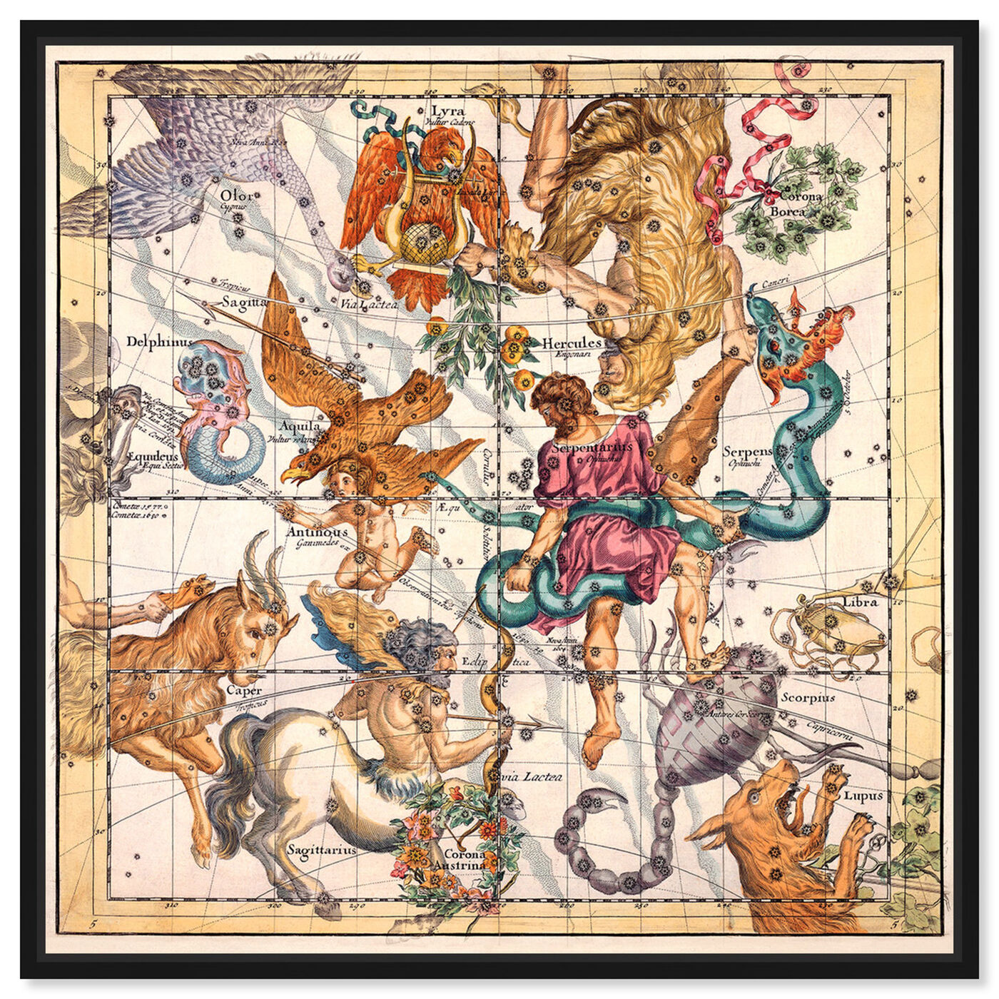 Front view of Sagittarius and Scorpius featuring spiritual and religious and zodiac art.