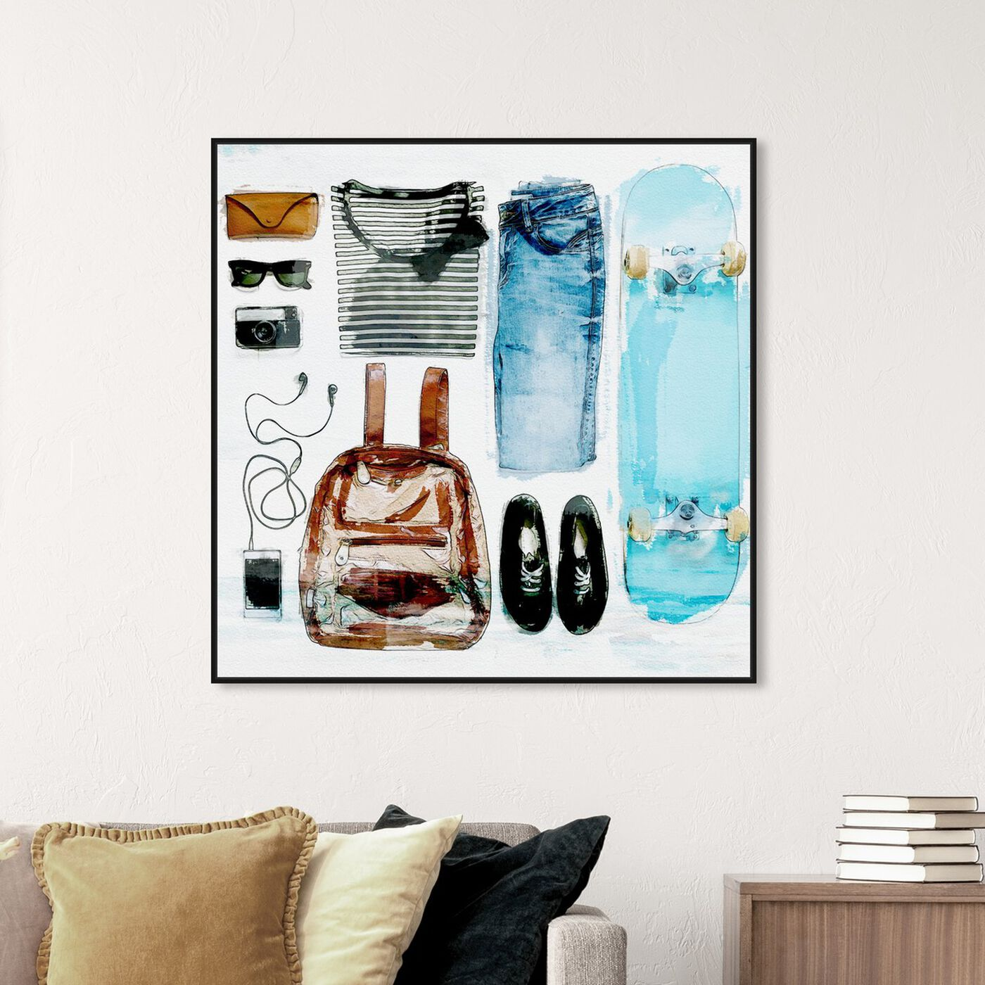 Hanging view of Summer Kit featuring fashion and glam and essentials art.