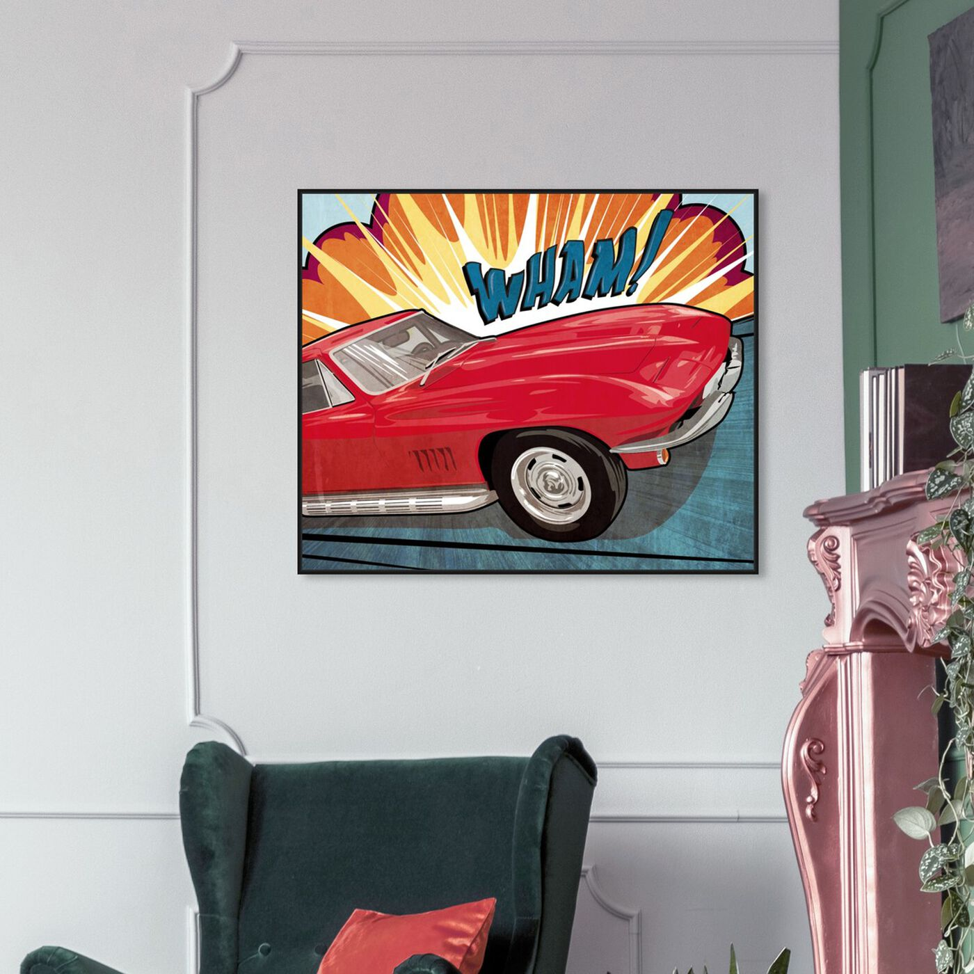 Hanging view of Wham featuring advertising and comics art.