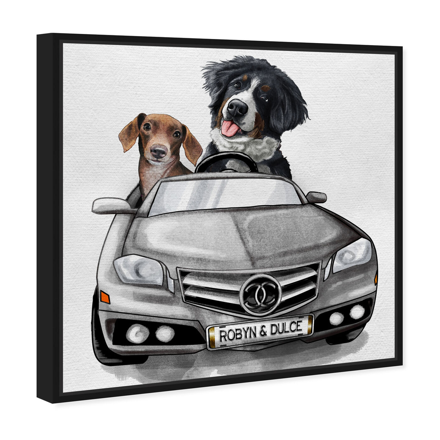 Angled view of Luxury Car Duo featuring fashion and glam and dogs and puppies art.