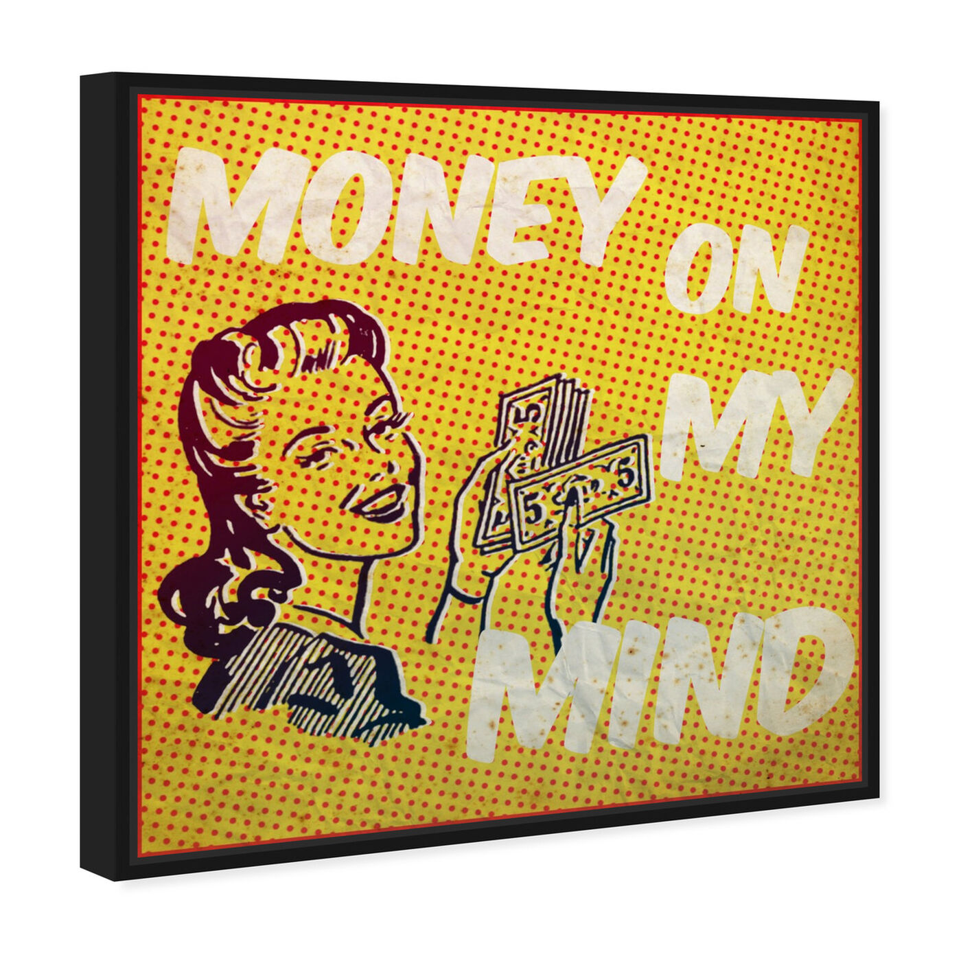 Angled view of Money on My Mind featuring advertising and comics art.
