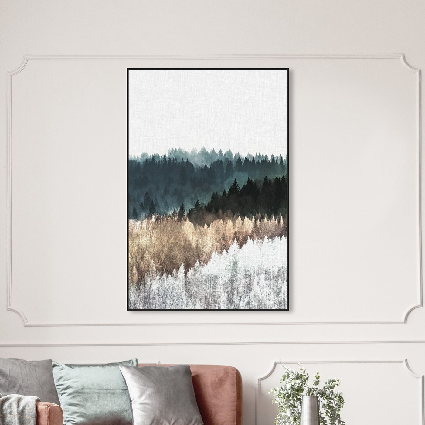 Hanging view of Pine Forest Watercolor featuring nature and landscape and forest landscapes art.