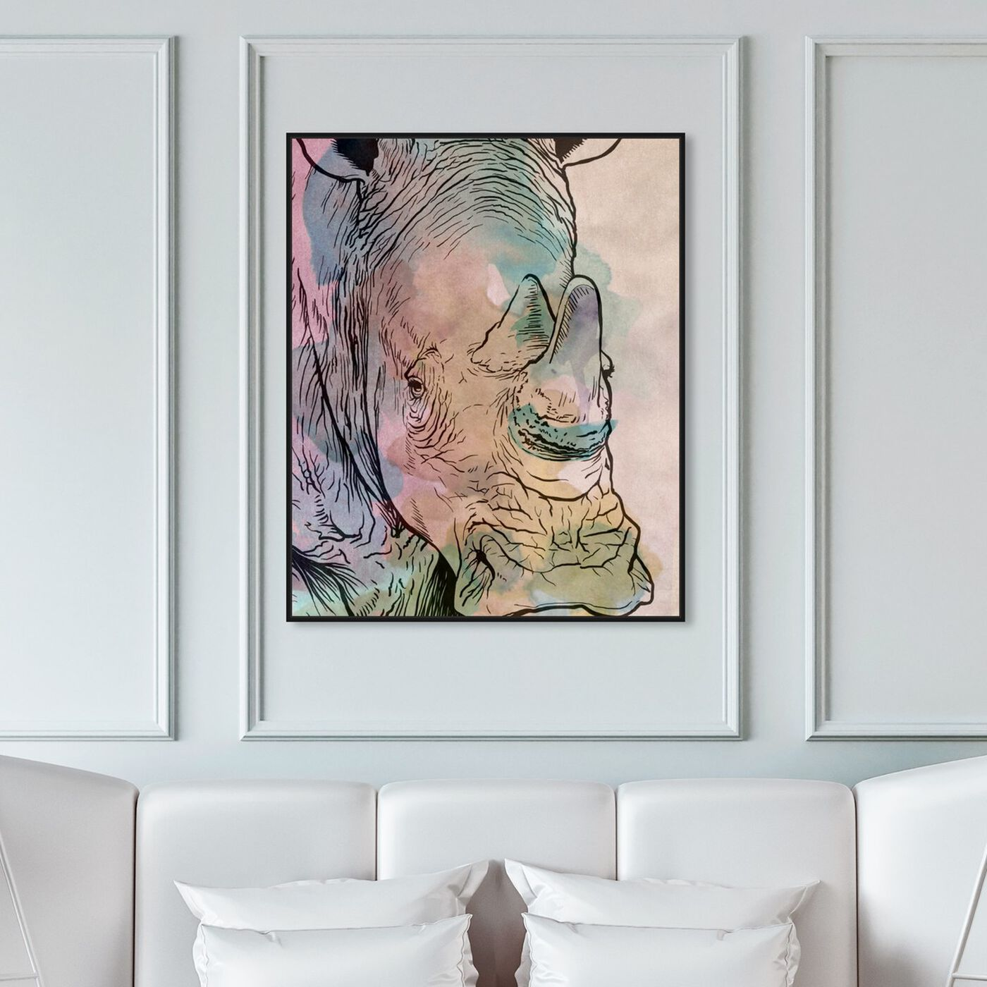 Hanging view of Peaceful Beast featuring animals and zoo and wild animals art.