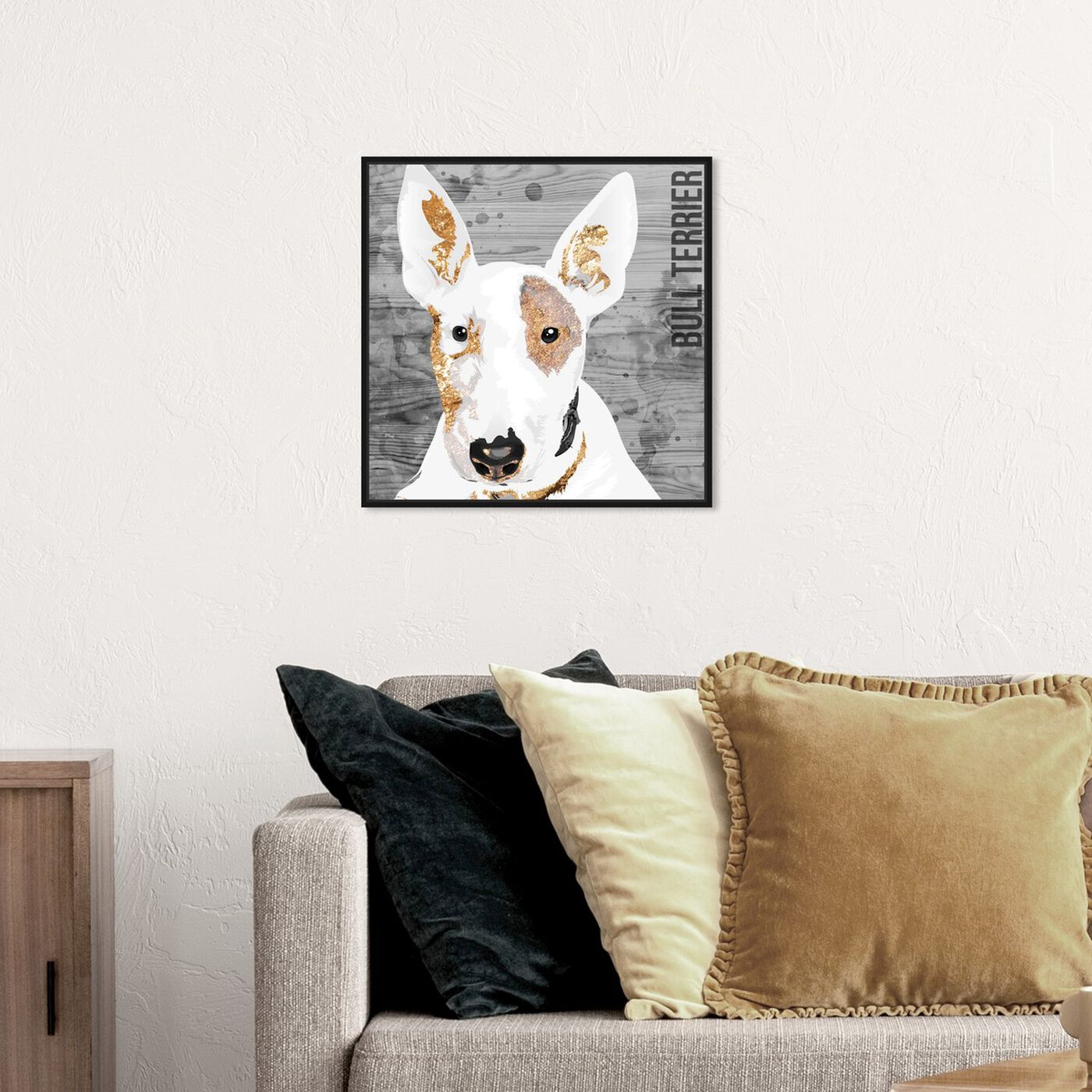 Hanging view of Love My Bull Terrier featuring animals and dogs and puppies art.