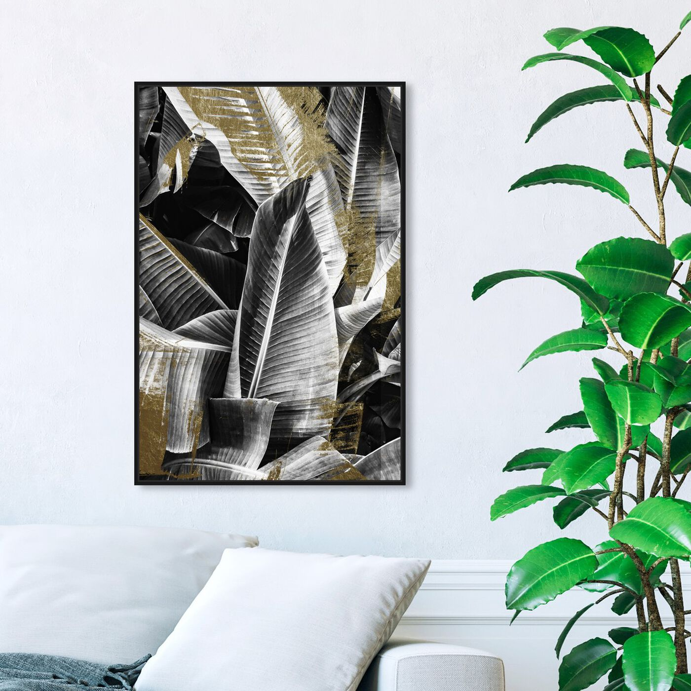 Hanging view of Banana Leaf Night Gold featuring floral and botanical and botanicals art.