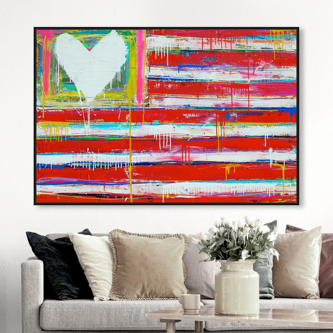 Hanging view of One Nation by Tiago Magro featuring americana and patriotic and us flags art.