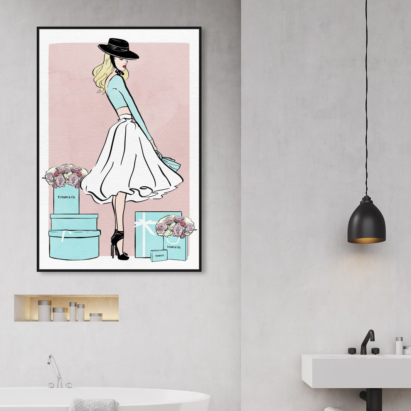 Hanging view of Floral Shopper Blush featuring fashion and glam and outfits art.