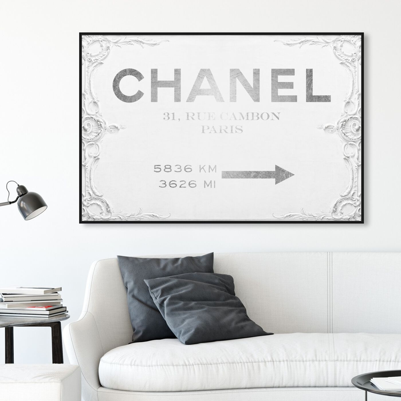 Hanging view of Couture Sign featuring fashion and glam and road signs art.