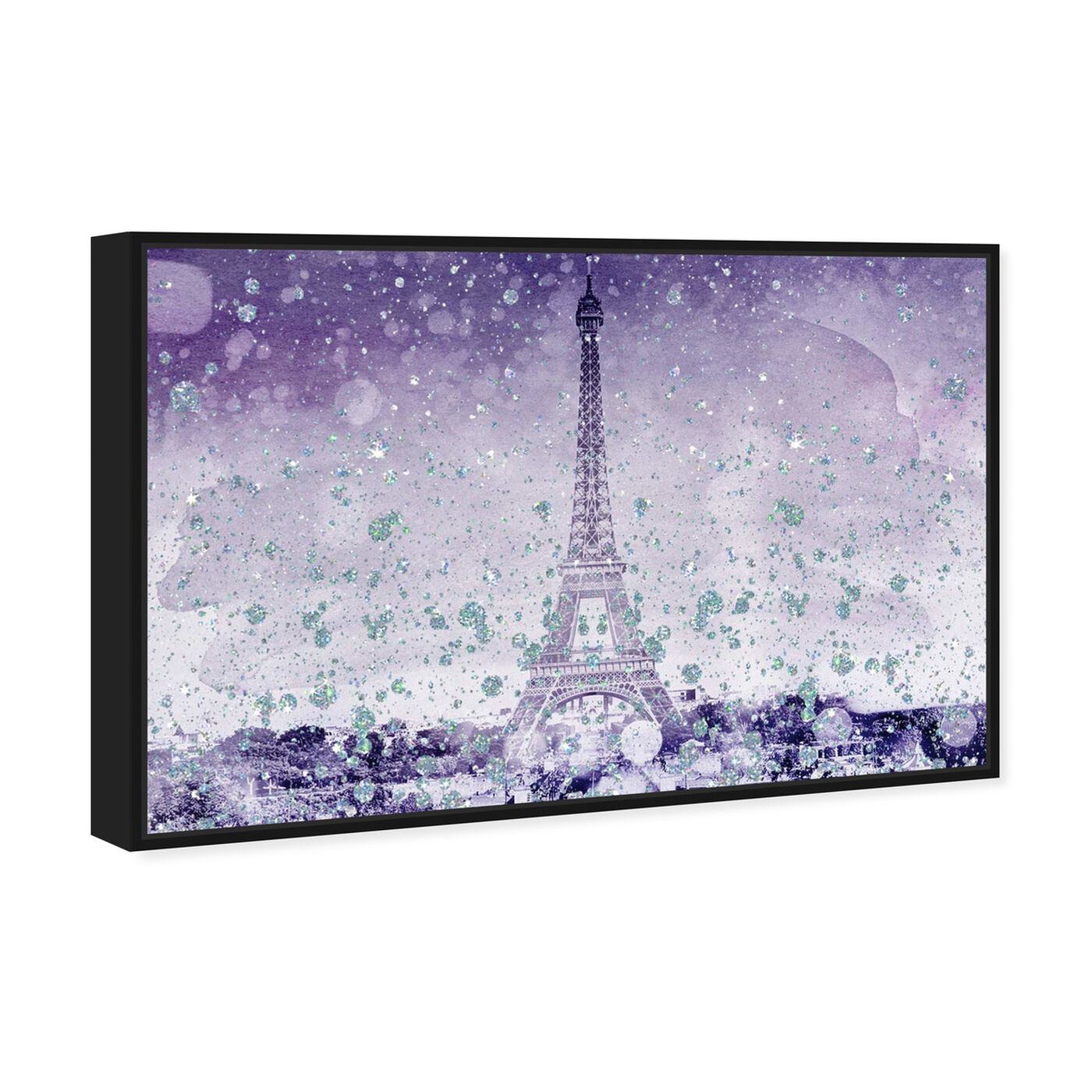 Angled view of Eiffel Violet featuring cities and skylines and european cities art.