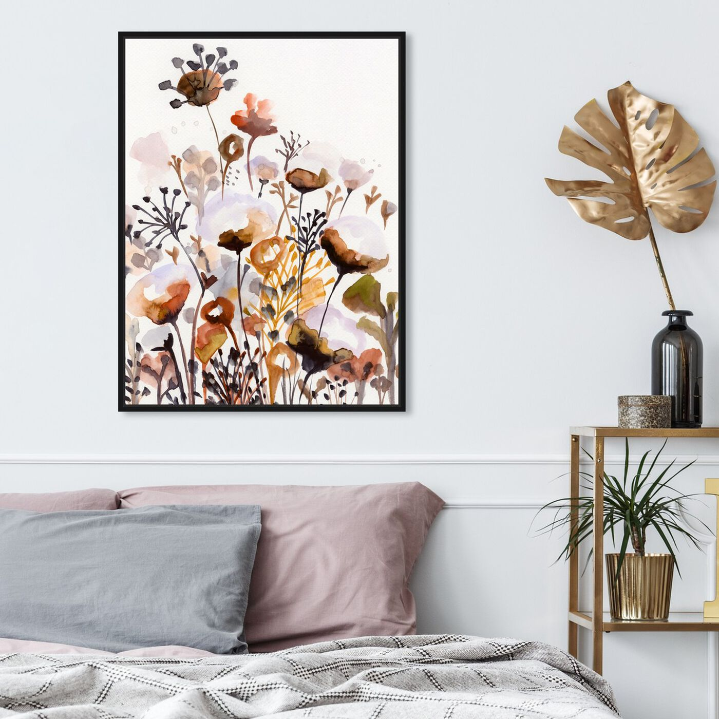 Hanging view of Deep Forest Earthy Brown featuring floral and botanical and gardens art.