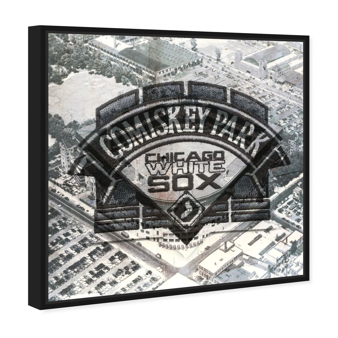 Angled view of Comiskey Park White Sox featuring cities and skylines and united states cities art.
