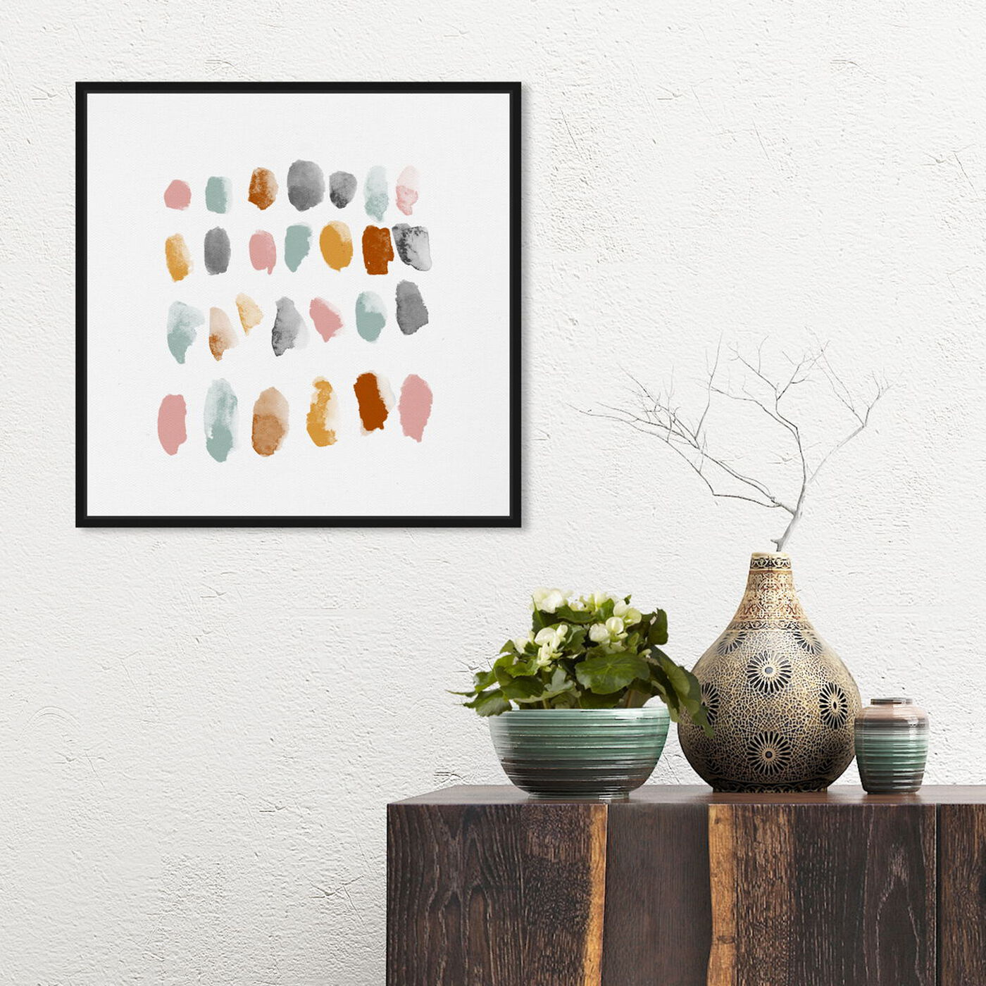 Hanging view of Mid Century Drops featuring abstract and paint art.
