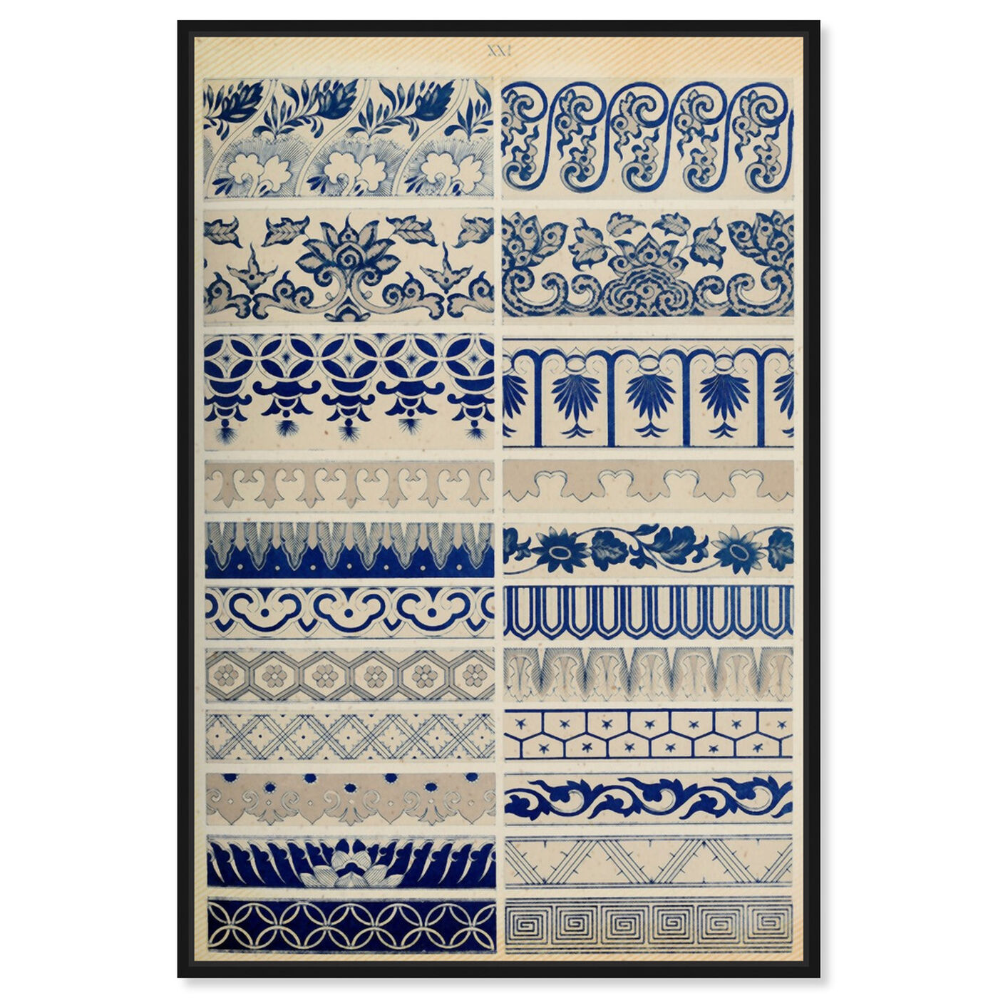 Front view of Ornaments 1867 Plate XXI featuring abstract and patterns art.