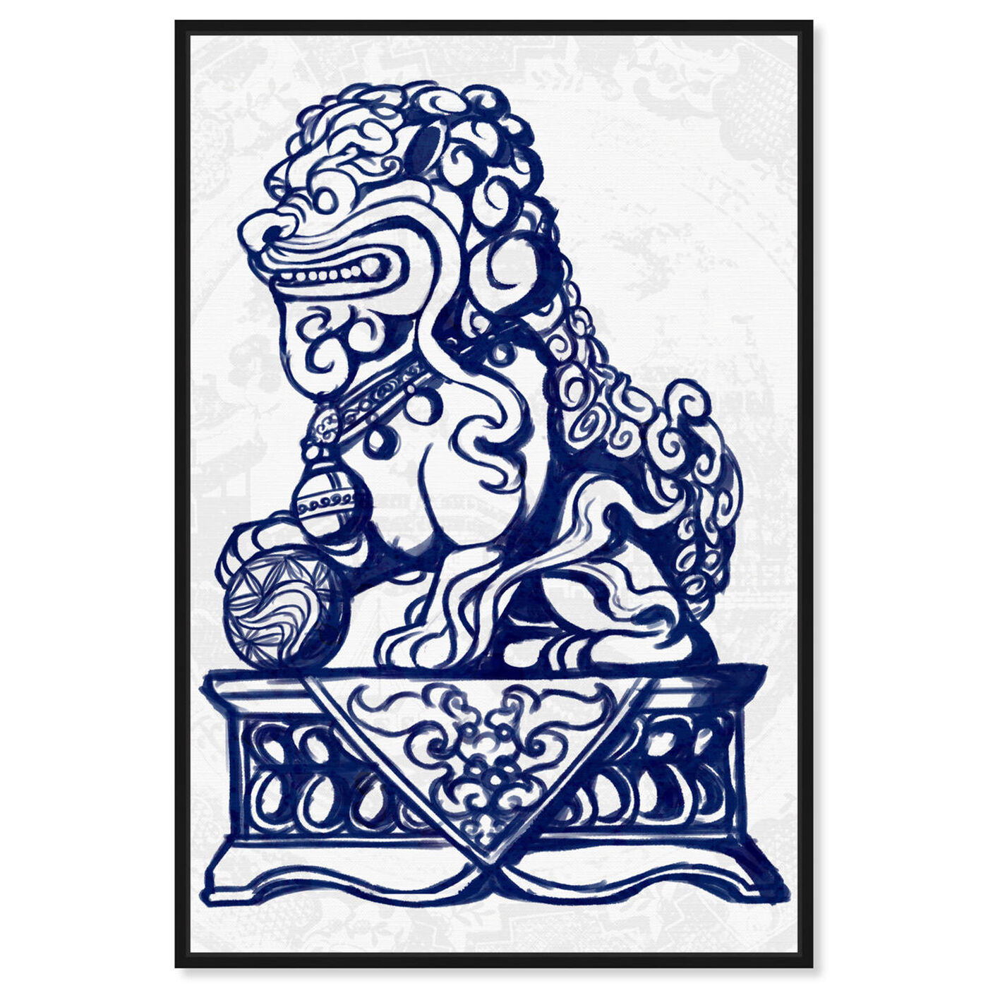 Front view of Julianne Taylor Style - Foo Dog Navy featuring world and countries and asian cultures art.