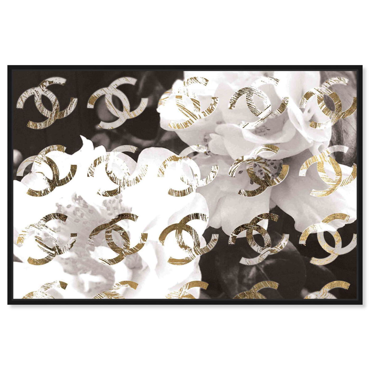 Front view of Original Gold Camellia Distressed featuring floral and botanical and florals art.
