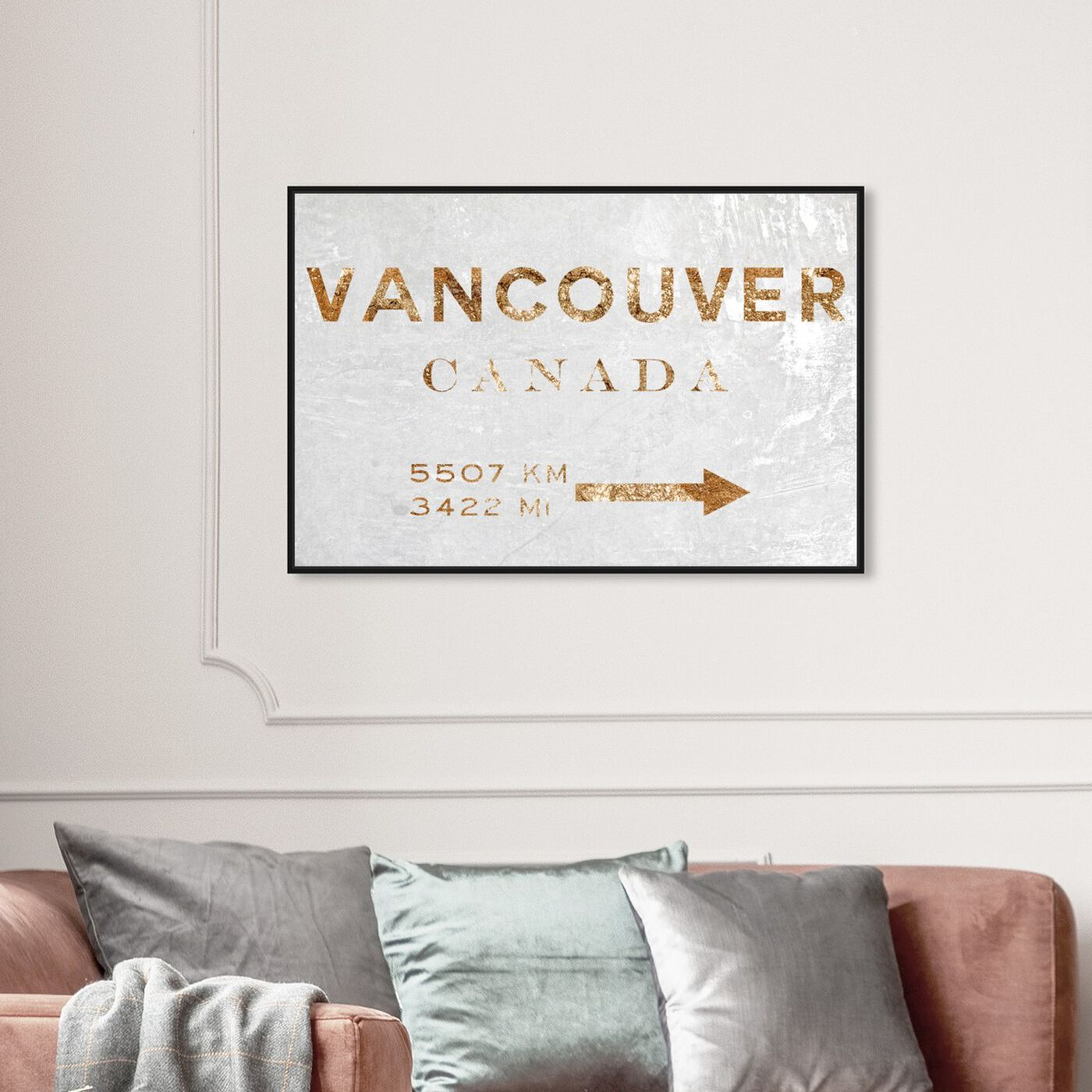 Hanging view of Vancouver Road Sign featuring cities and skylines and north american cities art.