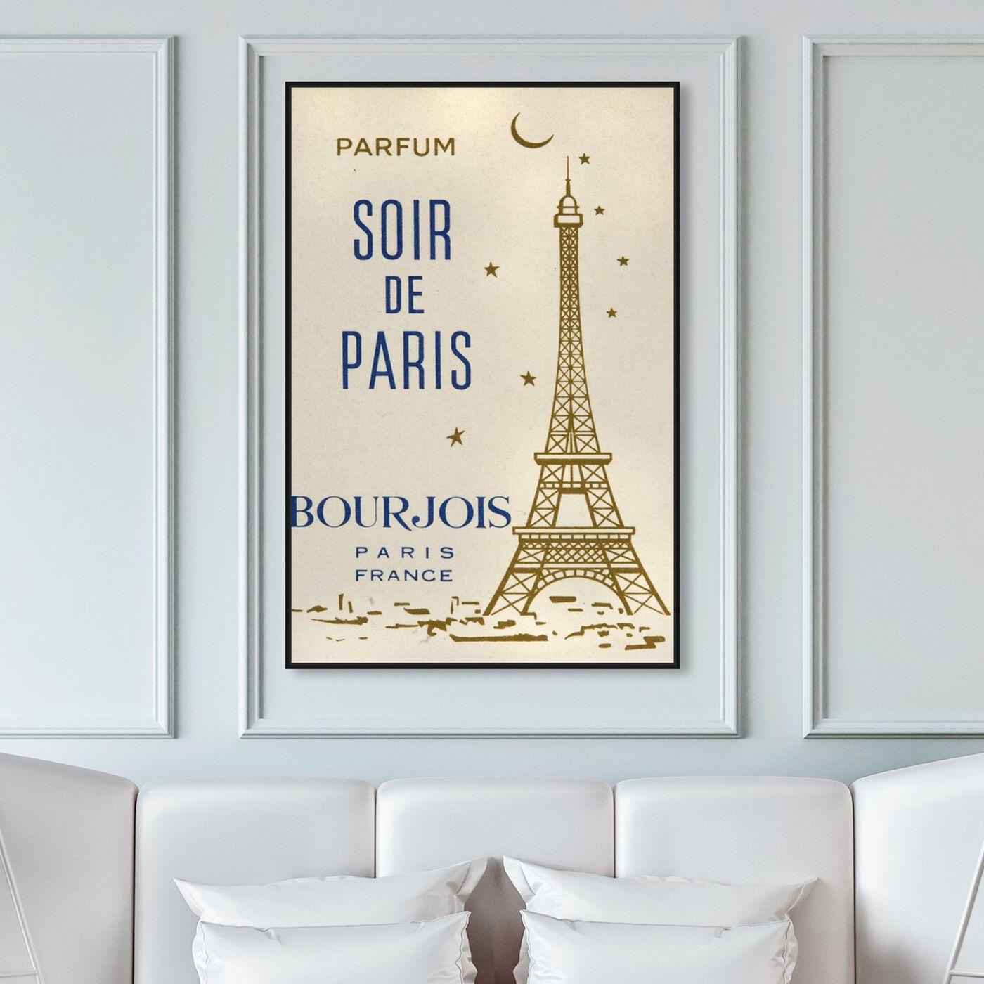 Hanging view of Parfum Soir de Paris featuring cities and skylines and european cities art.