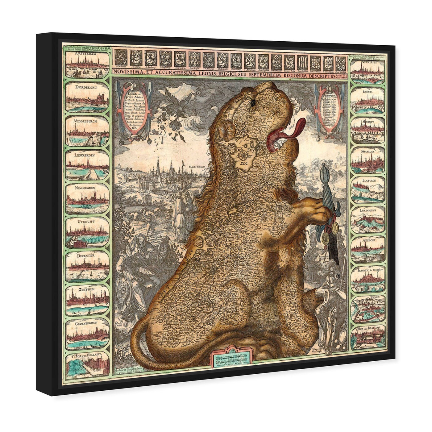 Angled view of Dutch Lion 1609 Map featuring maps and flags and european countries maps art.