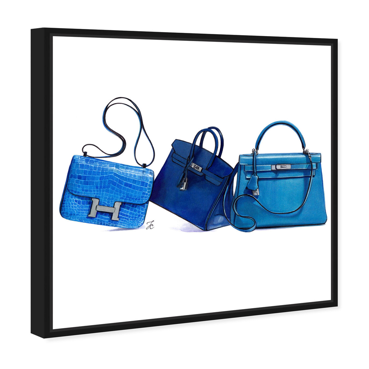 Angled view of Doll Memories - Blue Shades II featuring fashion and glam and handbags art.