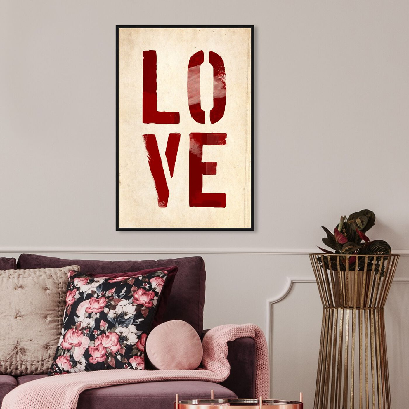 Hanging view of Four Letters featuring typography and quotes and love quotes and sayings art.