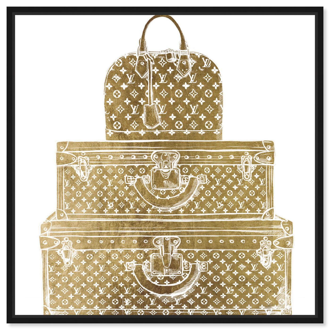 Front view of Royal Bag and Luggage Gold diecut featuring fashion and glam and travel essentials art.