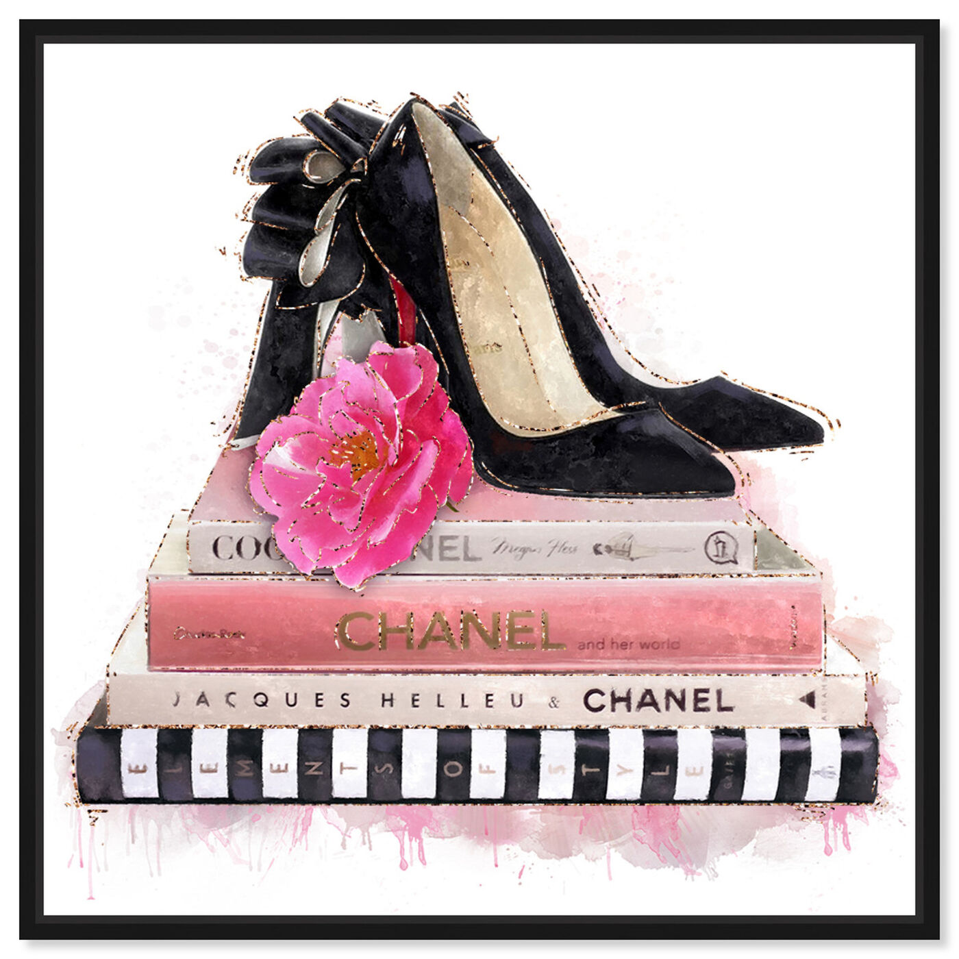 Front view of Fashion Books and Glam Shoes featuring fashion and glam and books art.