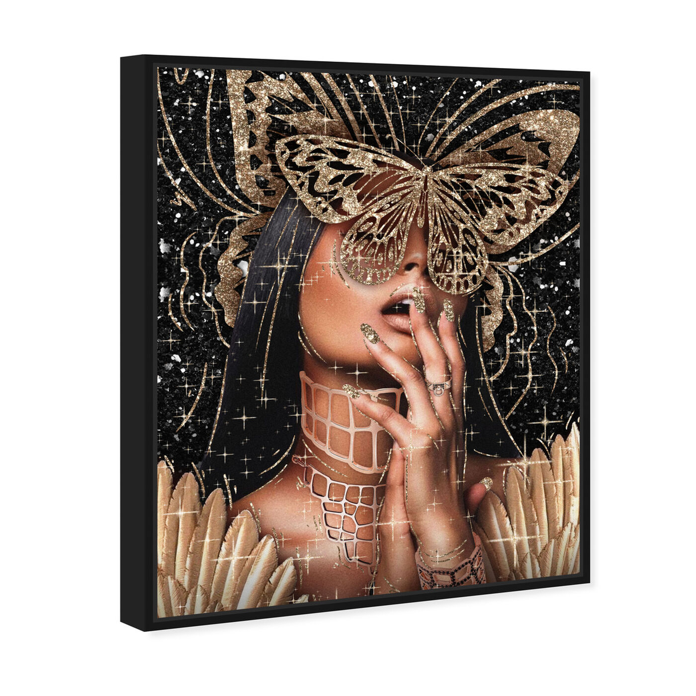 Angled view of Golden Angela featuring fashion and glam and portraits art.