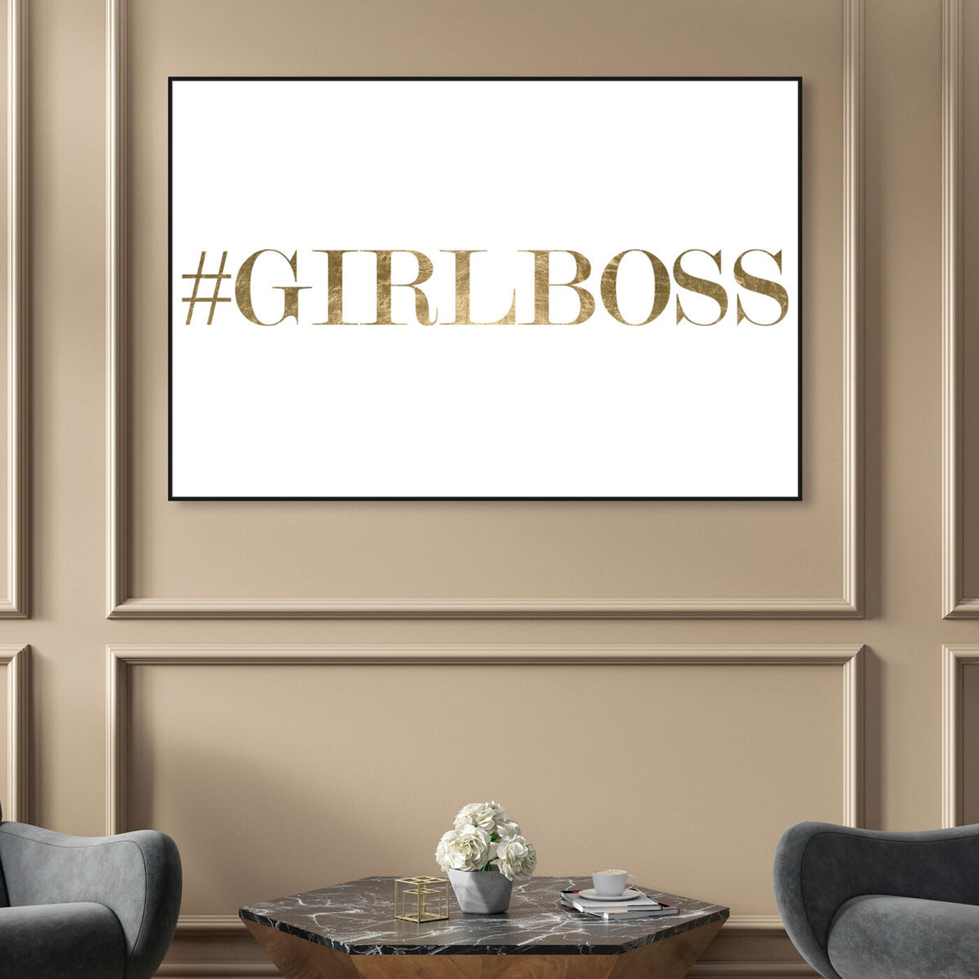 Hanging view of Girlboss featuring typography and quotes and empowered women quotes and sayings art.
