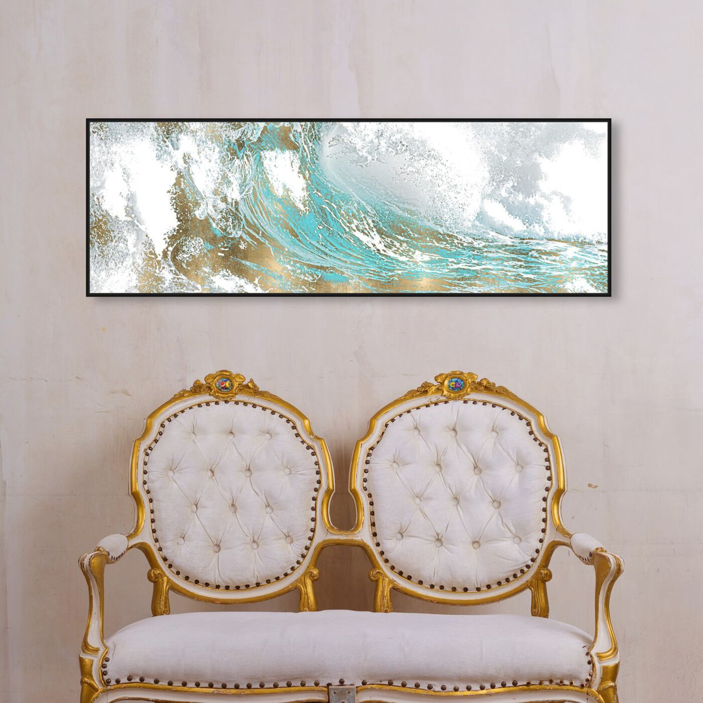 Hanging view of Wave in a Moment Aqua featuring abstract and paint art.