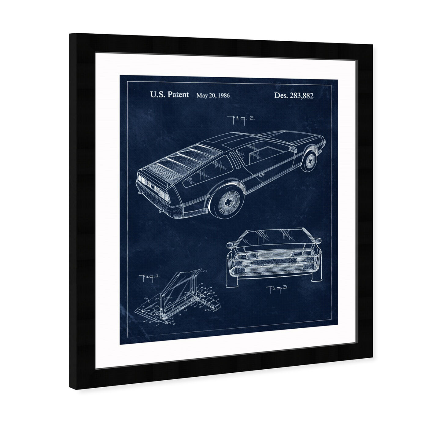 Angled view of Delorean, 1986 II featuring transportation and automobiles art.