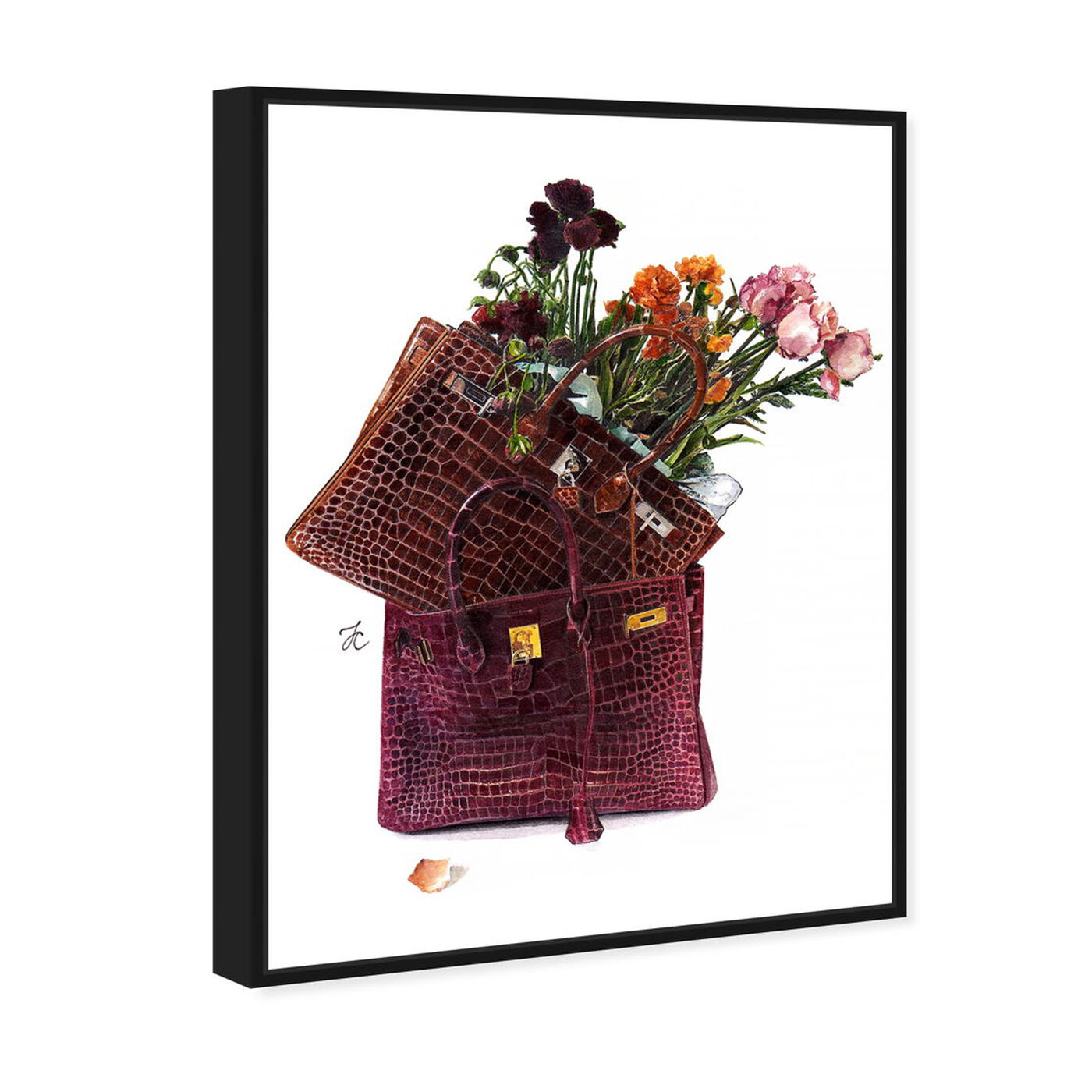 Angled view of Doll Memories - Flowers featuring fashion and glam and handbags art.