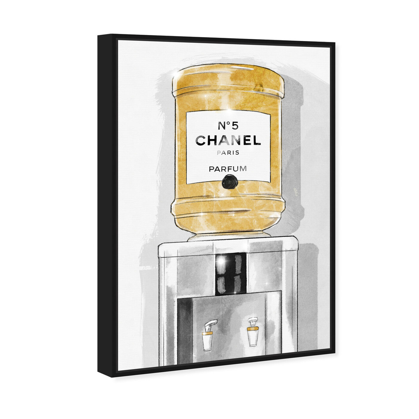 Angled view of Classic Number 5 Watercooler featuring fashion and glam and perfumes art.