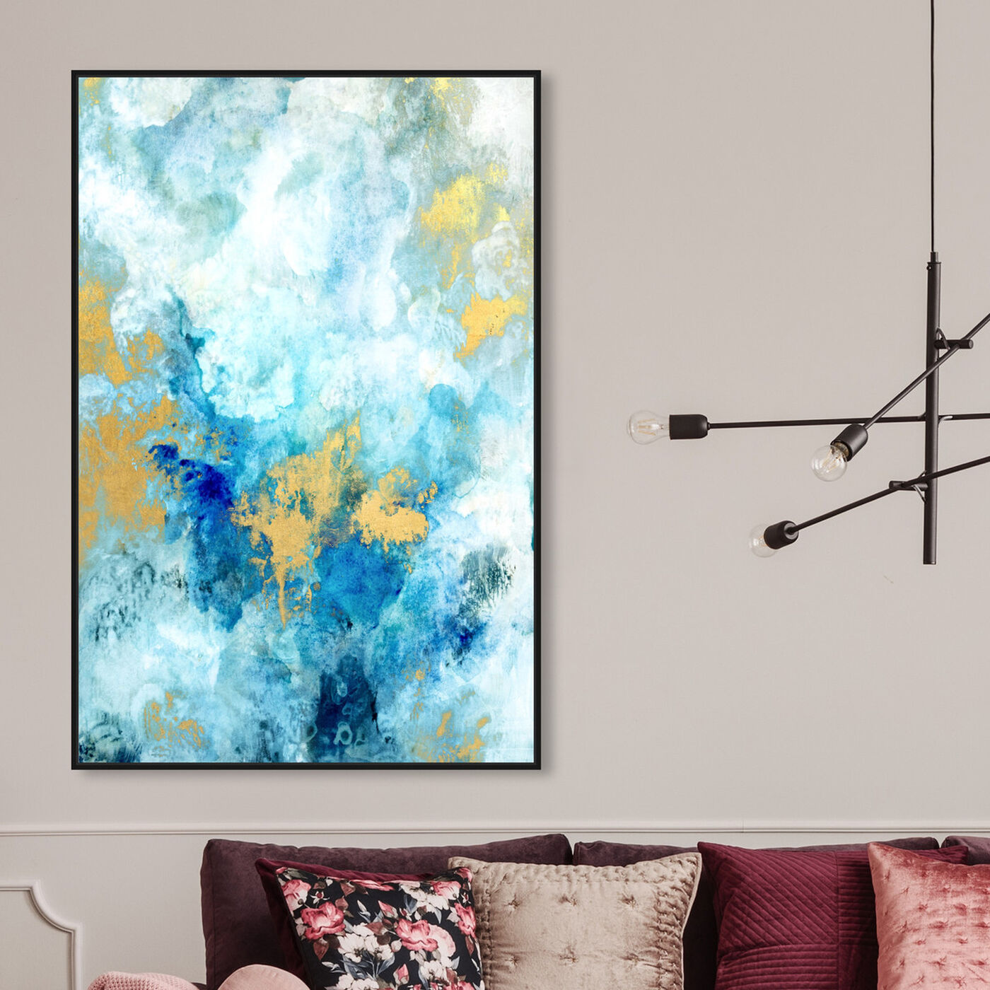 Hanging view of Snowy Gold featuring abstract and paint art.