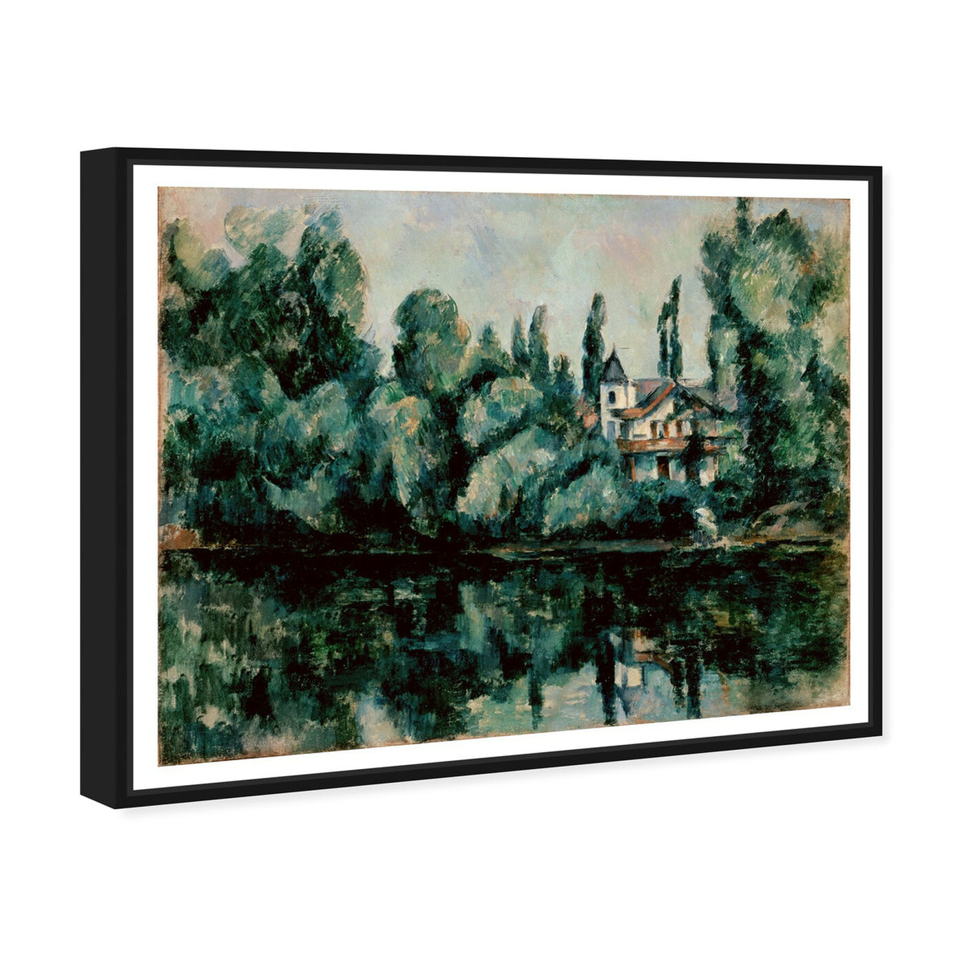Angled view of Paul Cezanne - Les Rives De La Marne featuring nature and landscape and forest landscapes art.