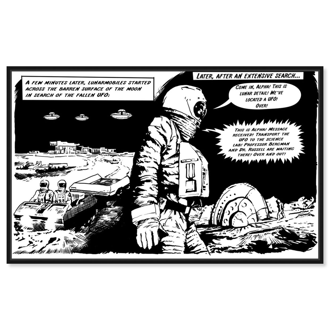 Front view of On The Moon featuring advertising and comics art.