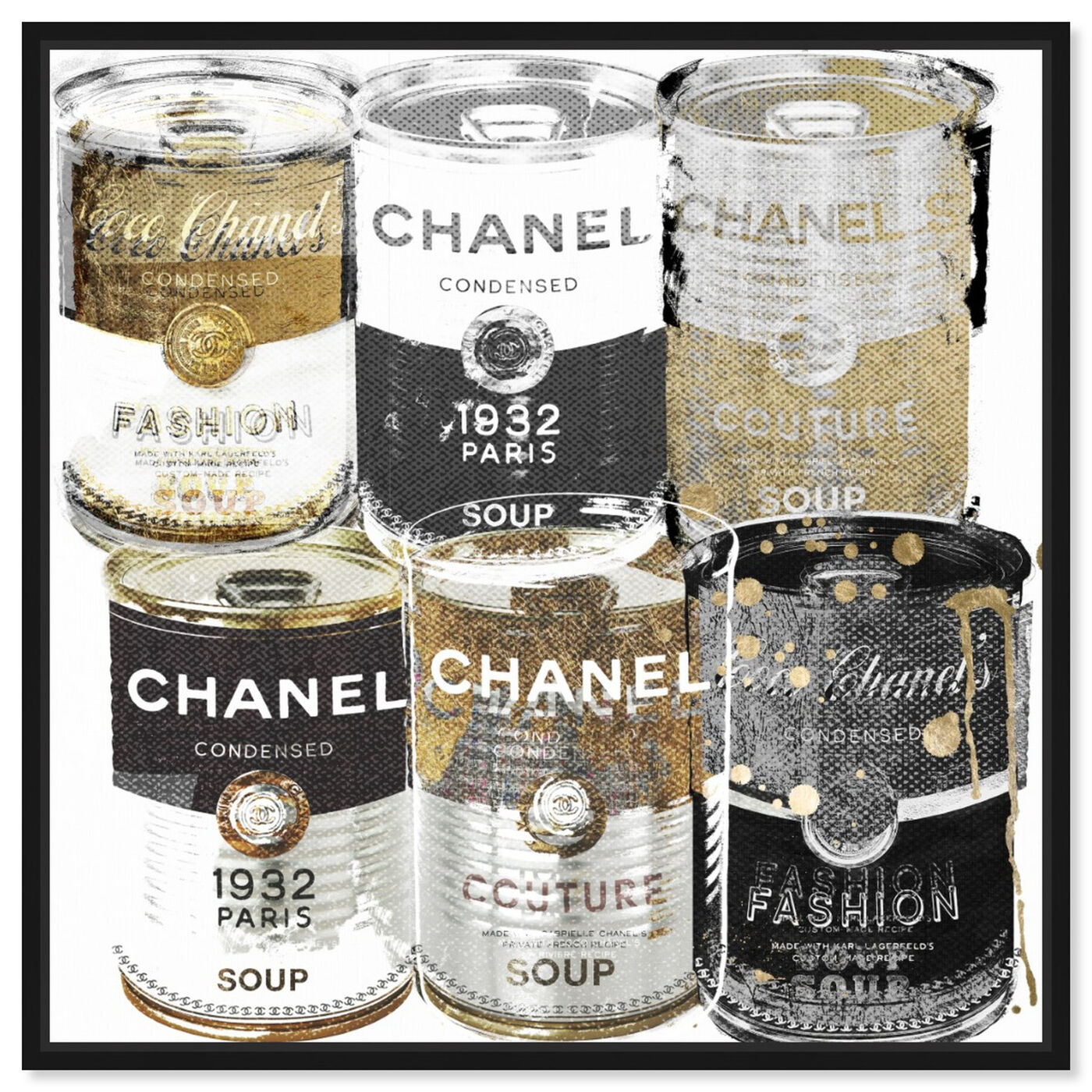 Front view of Fashion Soup Pantry featuring fashion and glam and soup can art.