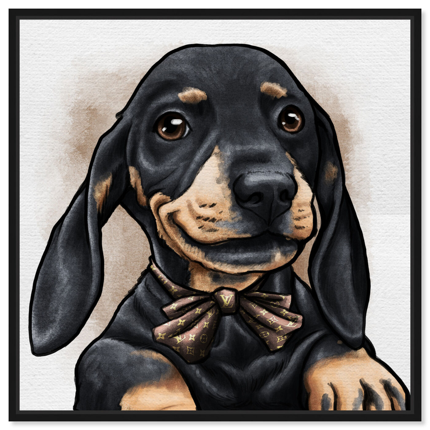 Front view of Dapper Dachshund featuring animals and dogs and puppies art.