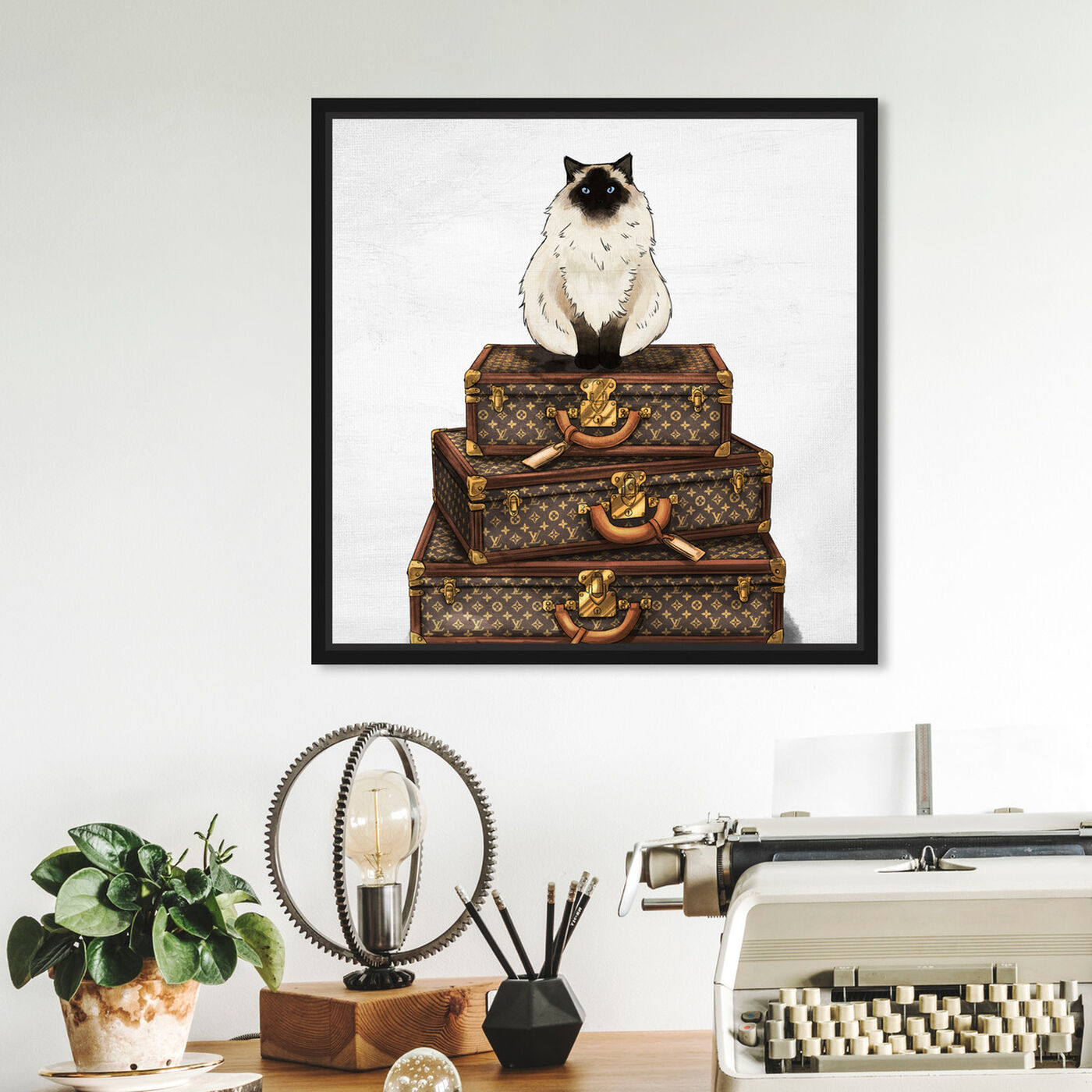 Hanging view of Siamese Suitcase featuring fashion and glam and travel essentials art.