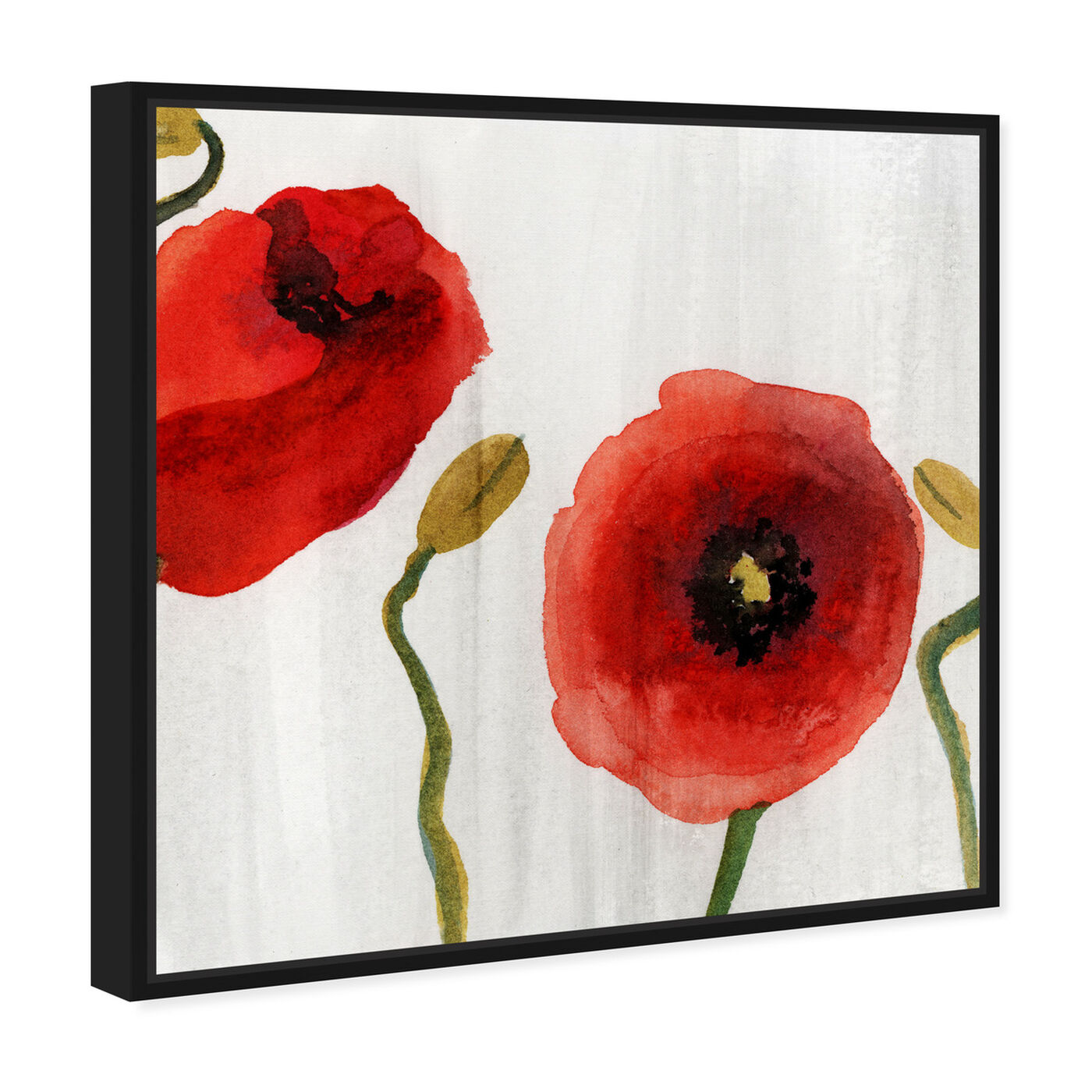 Angled view of Red Flowers Classic featuring floral and botanical and florals art.