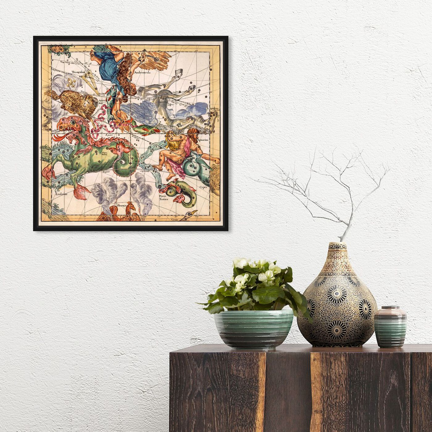Hanging view of Aquarius Piscis and Aries featuring spiritual and religious and zodiac art.