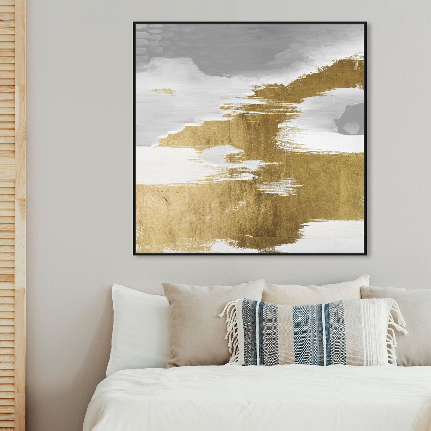 Hanging view of Gold Heaven featuring abstract and paint art.