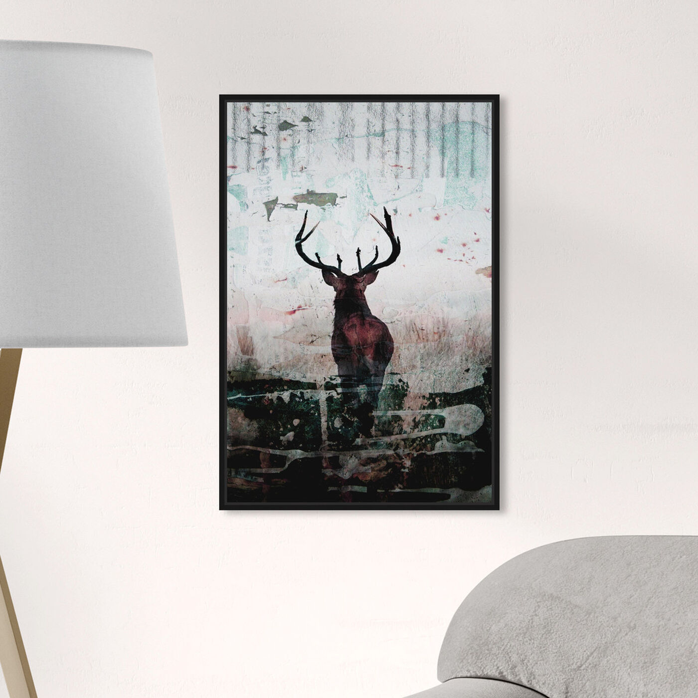 Hanging view of Red Stag featuring animals and zoo and wild animals art.