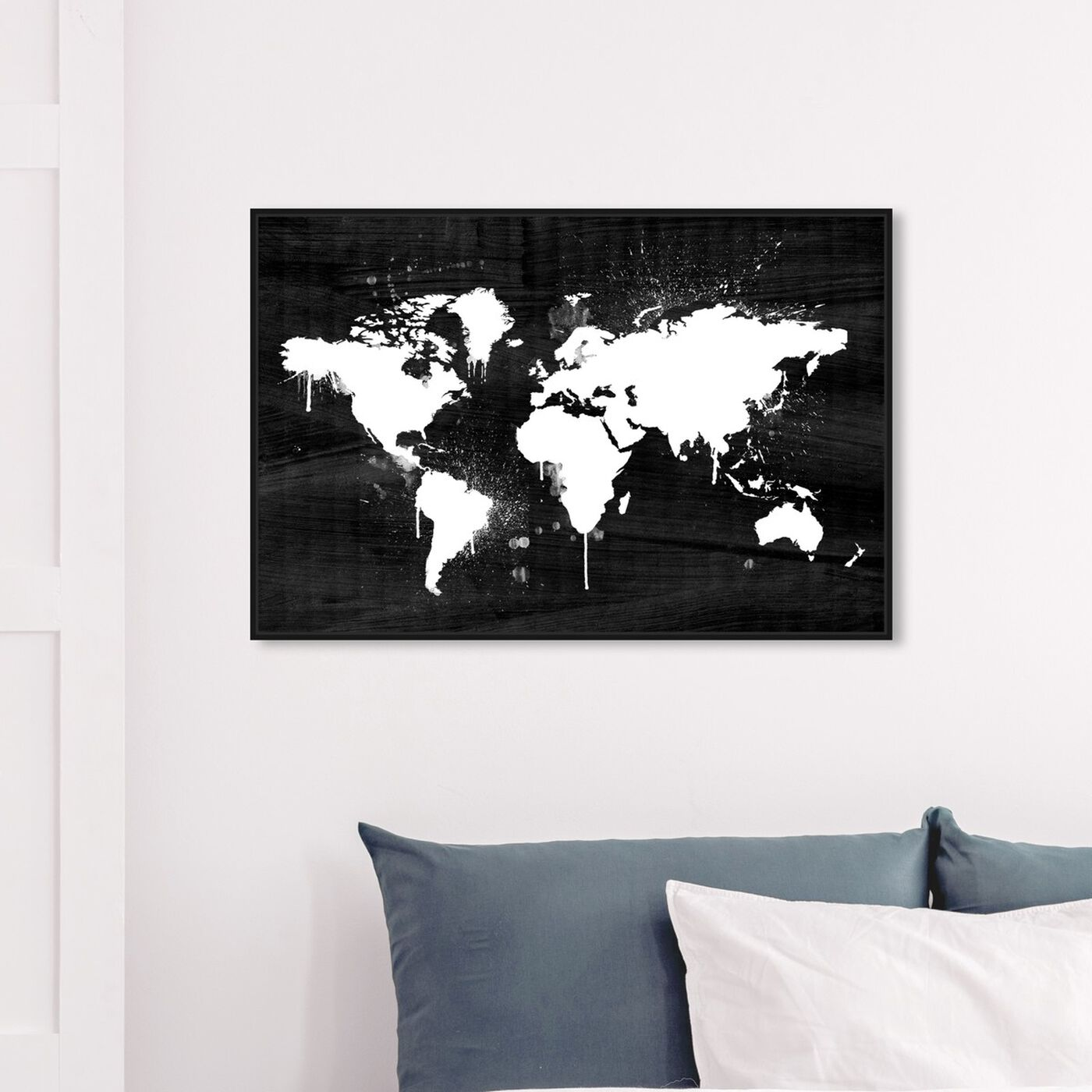 Hanging view of Mapamundi Noir I featuring maps and flags and world maps art.