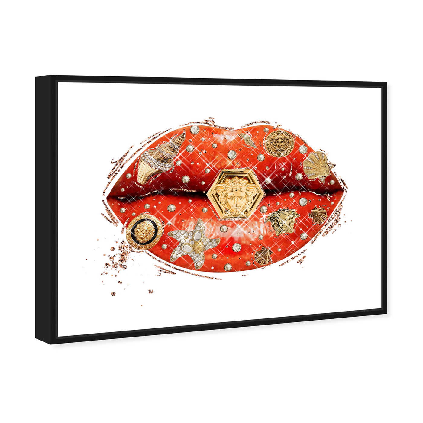 Angled view of Gianni Coral Lips featuring fashion and glam and lips art.
