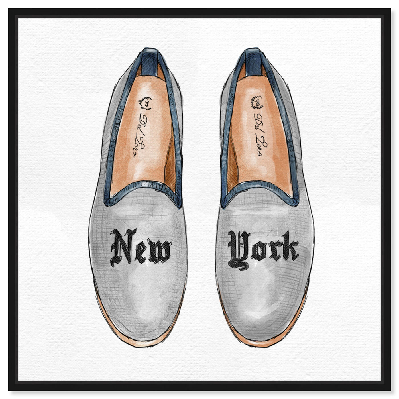 Front view of New York Slippers featuring fashion and glam and shoes art.