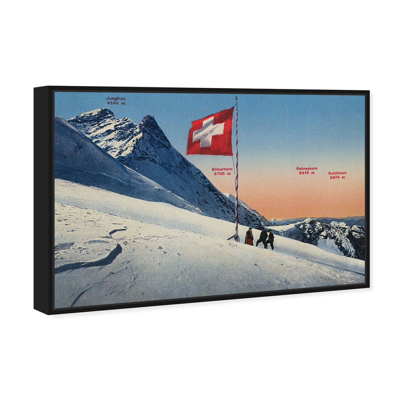 Angled view of Jungfrau featuring sports and teams and skiing art.
