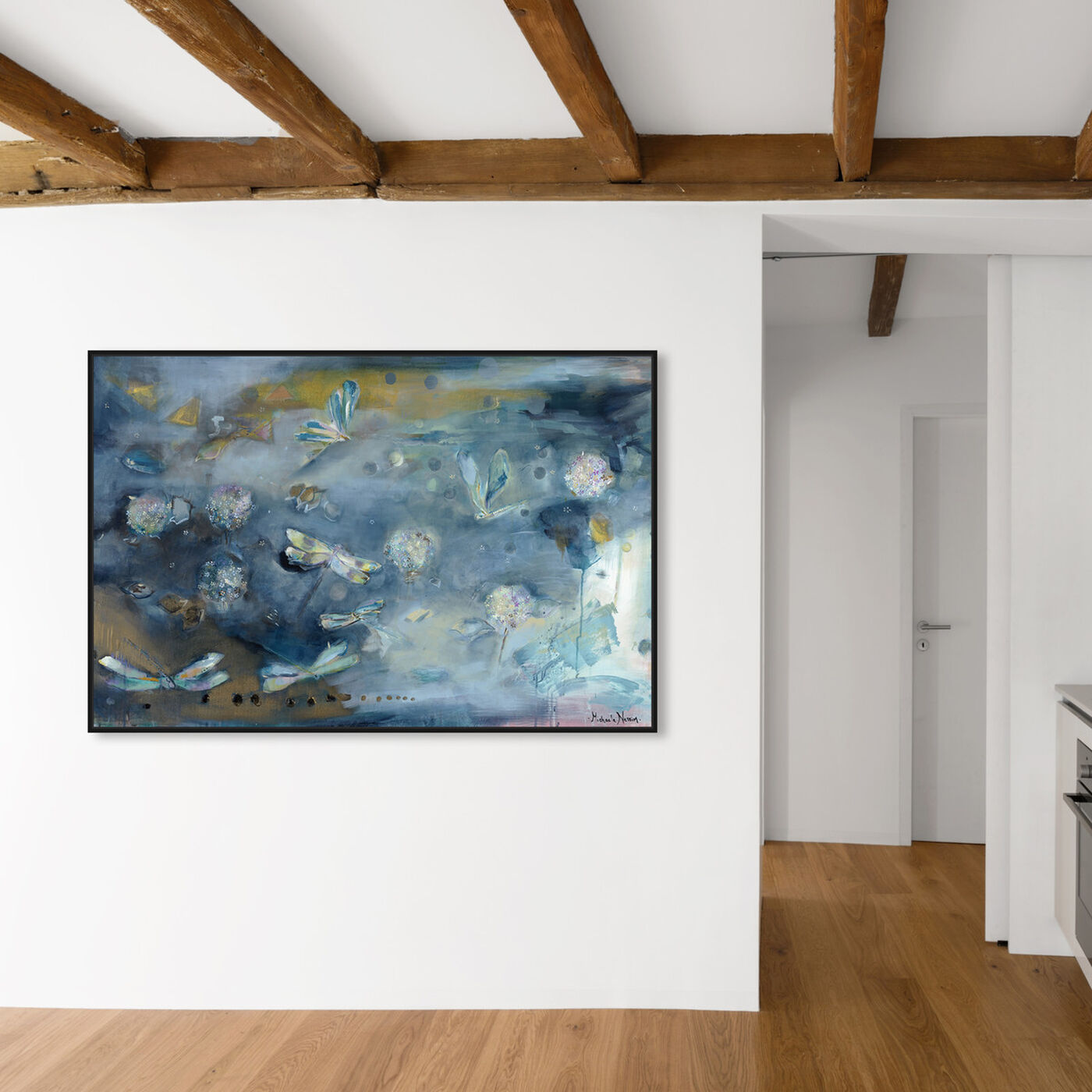 Hanging view of Michaela Nessim - Dragonfly Wishes featuring animals and insects art.